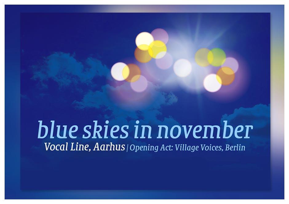 Konzert-Karte und Plakat Chor Blue skies