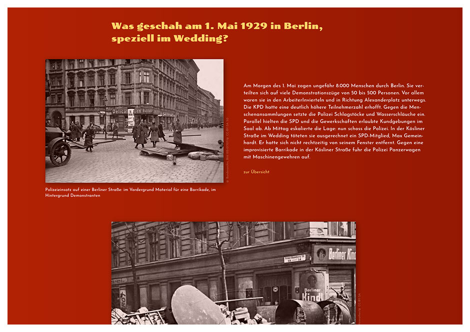 Detail der Blutmai-Website mit historischen Fotos