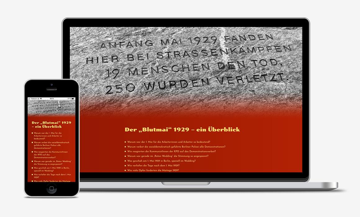 Website Blutmai dargestellt auf einem Laptop und einem Smartphone