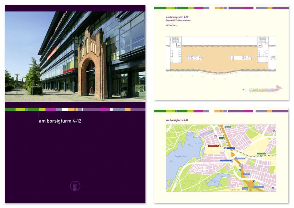 Immobilien-Broschüre Am Borsigturm, Titel, Grundriss und Lageplan
