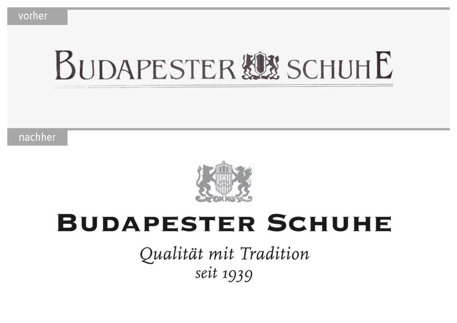 Logo-Redesign Budapester Schuhe: vorher und nachher