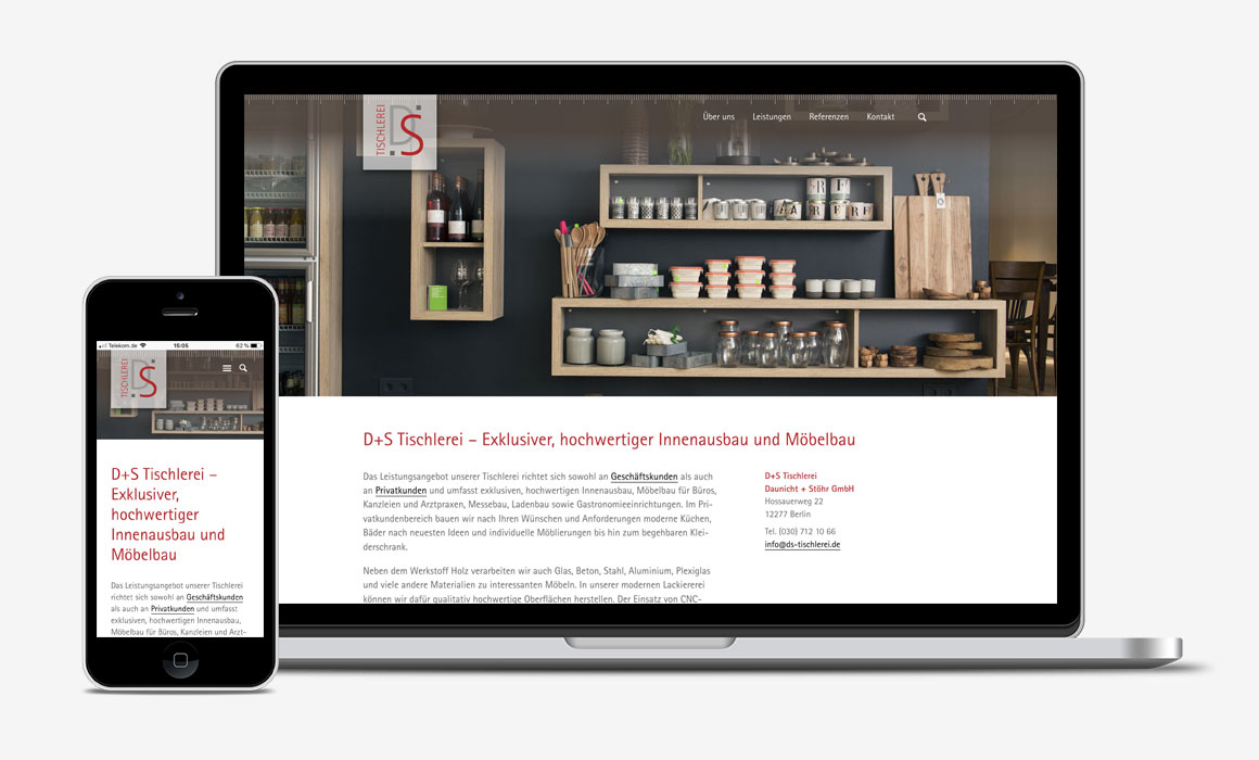 D+S Tischlerei: Handwerker-Website auf Smartphone und Laptop