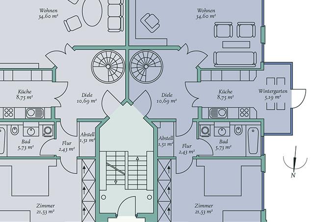 Grundriss-Detail Eigentumswohnungen
