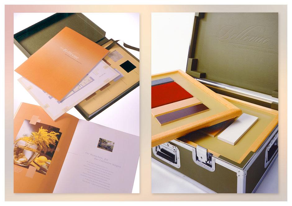 Haus Bellevue: Vermarktungskoffer mit Ausstattungsmustern