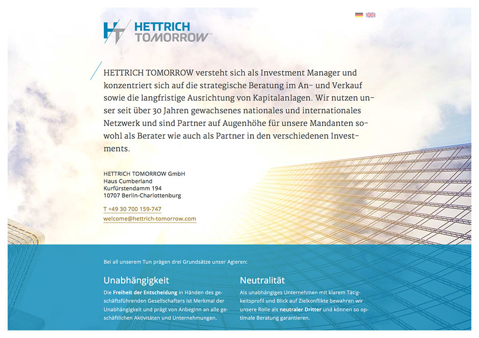Website Hettrich Tomorrow – Investment Manager