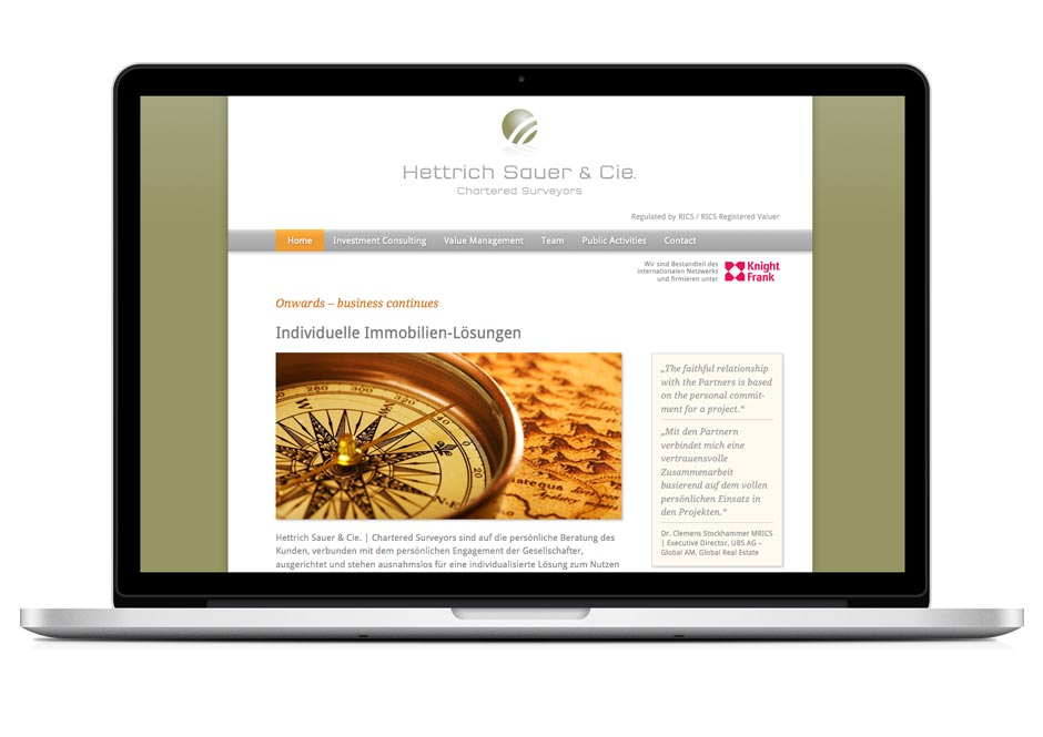 Website für Hettrich Sauer & Cie.