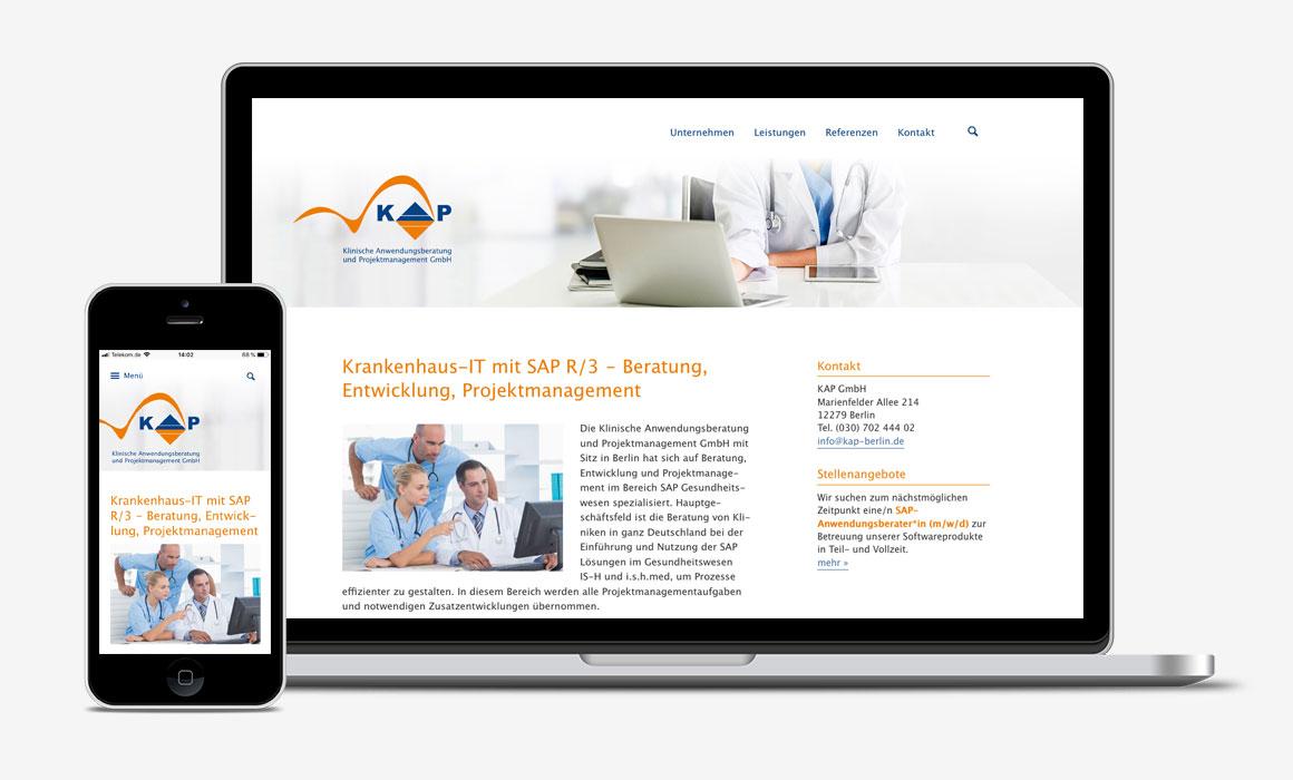 KAP Berlin – Krankenhaus-IT mit SAP, responsive Website-Programmierung