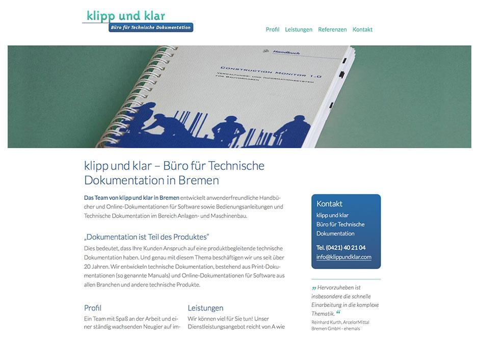 Website klipp und klar – Büro für Technische Dokumentation