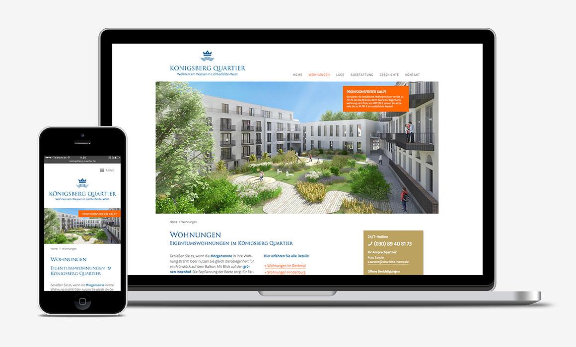 Responsive Website Königsberg Quartier auf MacBook und iPhone