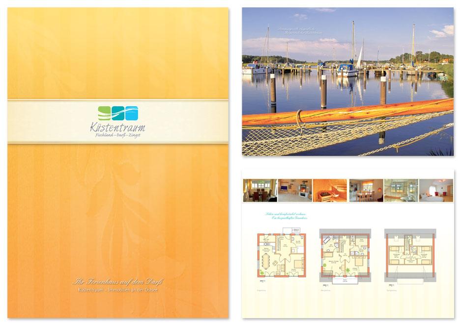 Ferienhaus-Broschüre Küstentraum, Titel und Innenseiten