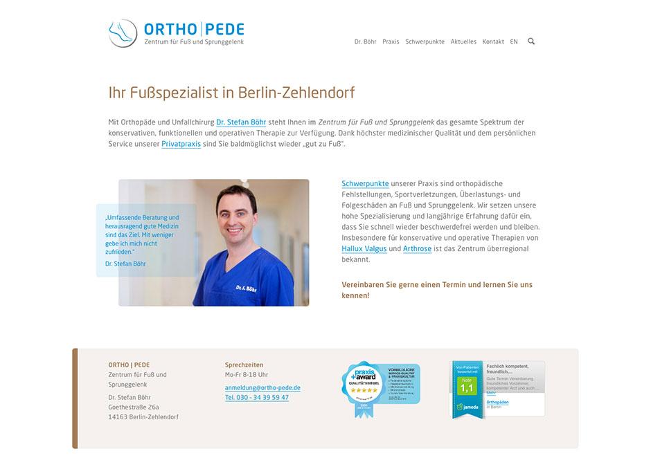 Website Orthopädie-Praxis Ortho | Pede