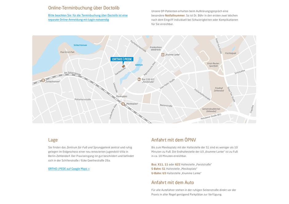 Detail der Website: Kontakt-Seite mit individuell gezeichnetem Lageplan