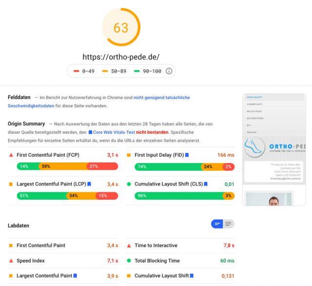 Ergebnis Google Page Speed Insights ortho-pede.de: vorher, 63 Punkte.