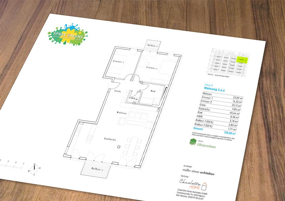 Spree Greens Immobilienprojekt: Grundrissblatt einer Eigentumswohnung