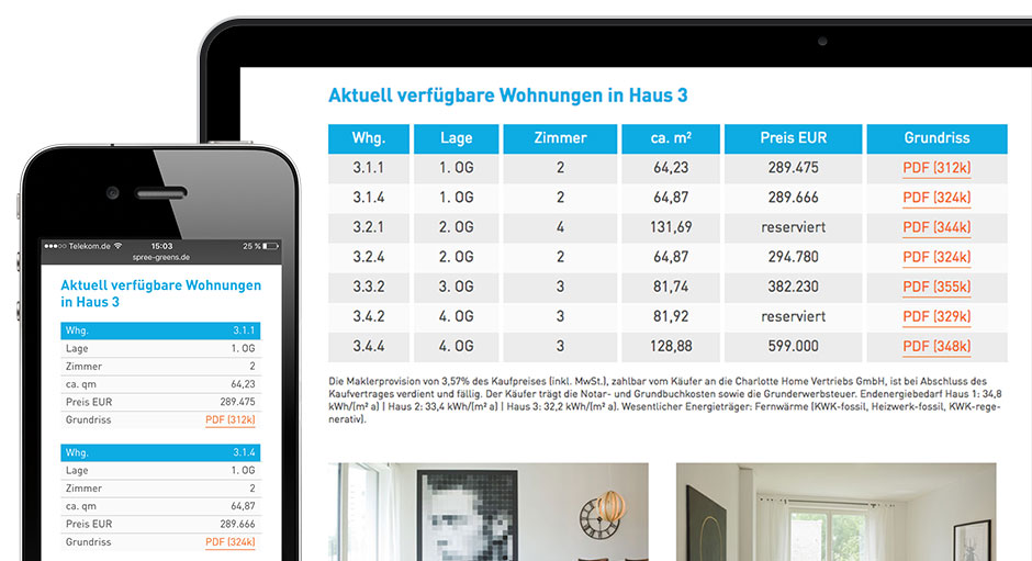 Spree Greens Immobilienprojekt: Detail Responsive Webdesign Wohnungs-Tabelle