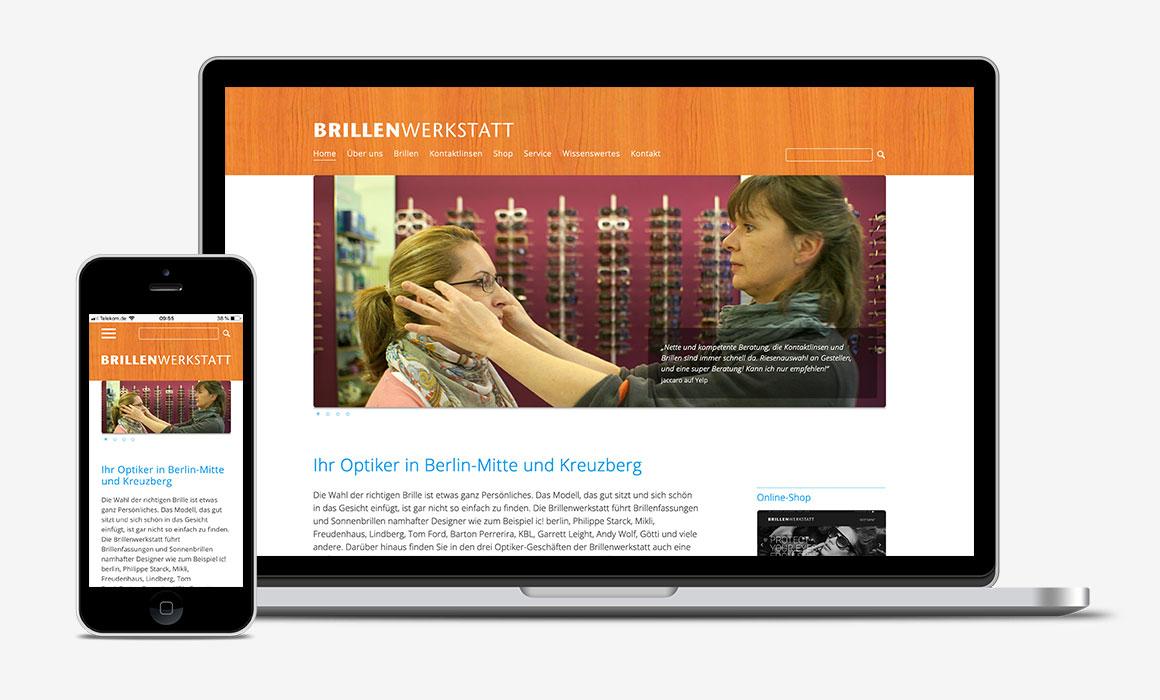 Re-Design Website Brillenwerkstatt, Optiker in Berlin