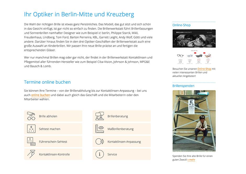 Website-Detail mit Buttons für die Online-Terminbuchung