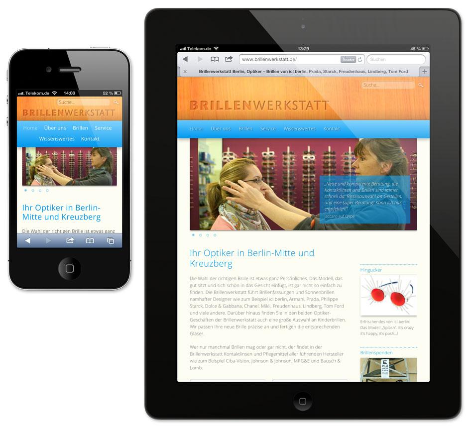 Website Brillenwerkstatt: Angepasste Gestaltung auf dem iPhone und dem iPad (Responsive Design)