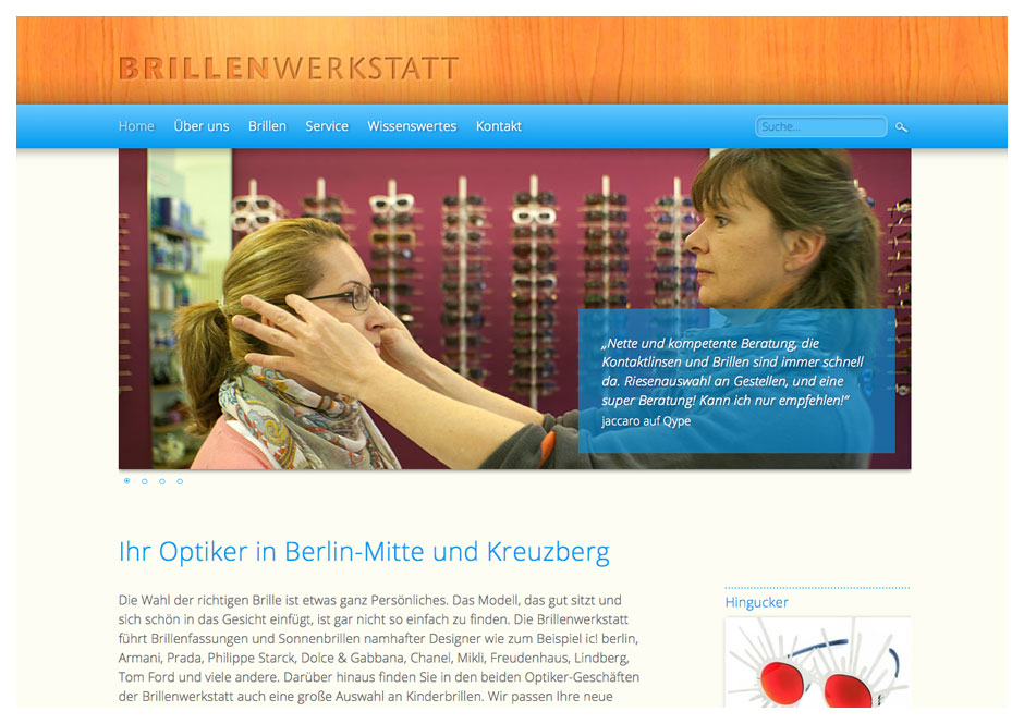 Website Optiker Brillenwerkstatt