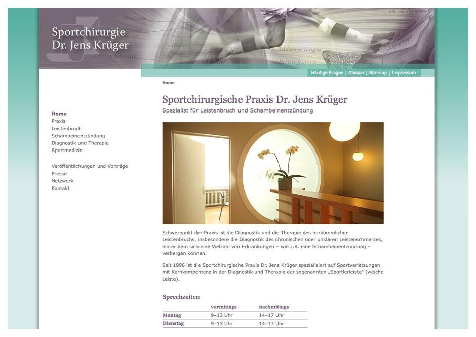 Website Dr. Krüger, Sportchirurgie