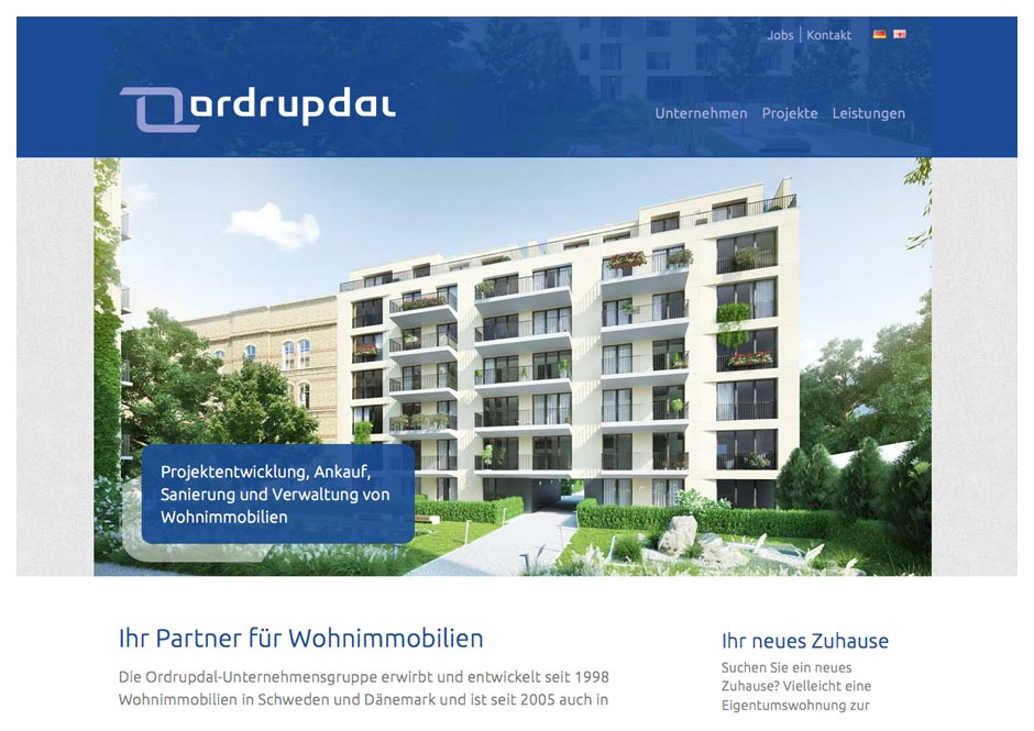 Website Ordrupdal Immobilien